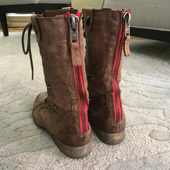estilo atractivo Nueva York grandes ofertas 2017 Steve Madden Shoes | Red Back Zipper Leather Boots | Poshmark
